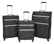 Super Lightweight Luggage 4 Wheel Suitcase BLACK Expandable Soft Case Travel Bag