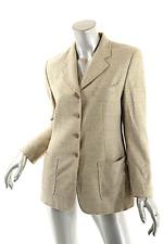 LUCIANO BARBERA Tan Gray 100% Plush Cashmere Windowpane Long Jacket  Sz 40 US 6