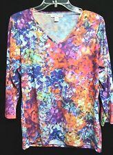 COLDWATER CREEK womens watercolor print blouse shirt multicolor tunic top L 14