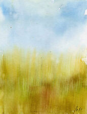 Grass meadow Watercolour Art Painting landscape  Handmade Signed Print ID : 454