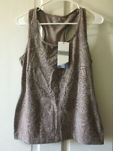 Danskin Fitness Racer Tank Top Built In Bra Taupe Large 12/14 New with Tags