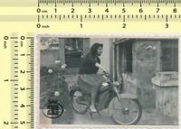 086 Woman Riding Motorbike Bike Motorcycle Lady vintage photo original snapshot