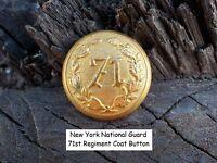 Old Rare Vintage Antique New York War National Guard 71st Regiment Coat Button
