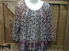 NEXT PETITES GATHERED FLORAL OVER BLOUSE SCOOP NECK 3/4 SLEEVES PURPLE/RED  12UK