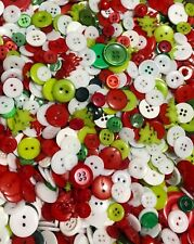 Christmas Mix Buttons 100pcs Red Green Assort Shapes Size Bulk Lot Aussie Seller