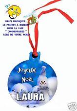 décoration de noël en MDF à suspendre avec ruban personnalisé avec prénom réf 14