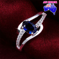 Wholesale 925 Sterling Silver Filled Blue Zircon Crystal Band Ring Wedding