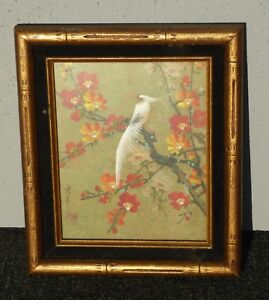 Vintage Original Oriental Asian Authenticated Picture of Bird & Flowers  Signed