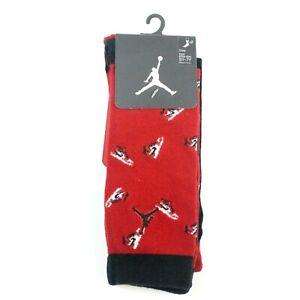 Nike Air Jordan Kids Red Black Crew Performance Jumpman Basketball Socks 5Y-7Y
