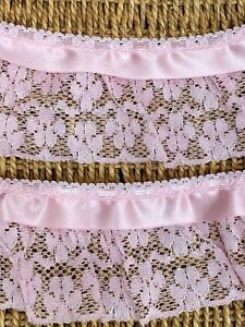 "laverslace - Pink Gathered Nottingham Lace Trim Ribbon 3.25""/8.5cm"