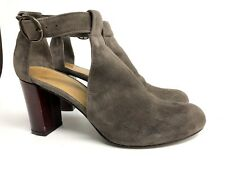 Coclico Women's Size 36.5 6 6.5 Gray Red Heel Open Sides Suede Shoes Heels 6 6.5