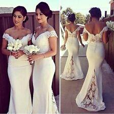New White/Ivory Mermaid Wedding Dress Garden Bridal Dress Custom Size 6--16+