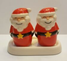 Set Santa Claus Salt Pepper Shaker Tray Ceramic Kitchenware Collect Christmas