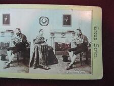 Stereoview Group Series On Yellow Card 69 Ye Olden Time Man & Woman Seated (O)