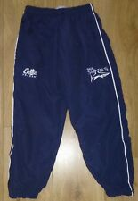 """SALE SHARKS RUGBY-NEW Unworn-Tracksuit Bottoms-Kids Waist 24""""-NAVY-Embroidered"""