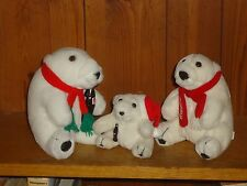 "Lot of 3 Plush Coca Cola White Polar Bears Family 7"" 6"" & 4"" Dad Mom & Baby"