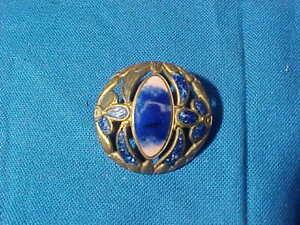 Early 20thc ART NOUVEAU Design COBALT BLUE ENAMEL w Open Work Brass BUTTON