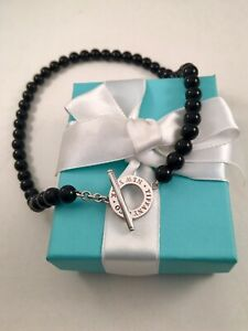 Tiffany & Co Beads Black Onyx Toggle Necklace 8mm. NEW VERSION