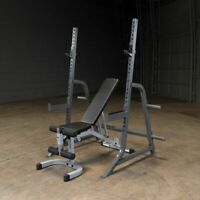 Body Solid Powerline Press Rack PMP150 Squat Rack with Bench | Home Gym Package