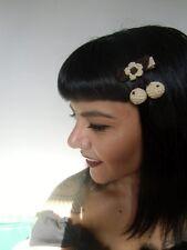 Pince clip cheveux cerises beige cherries crochet original pin-up rétro vintage