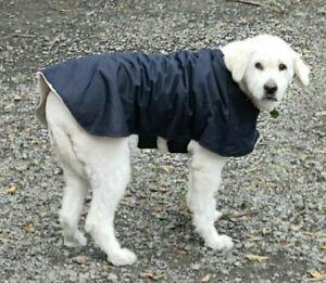 Australian Oilskin Dog coat jacket, 75cm or 80cm with sherpa lining Navy, NEW