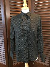 Foxcroft Women's Shirt Fitted Button Down Size 6 Black & White Polka Dot Career