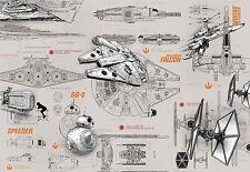 Star Wars Blueprints Foto Wallpaper Mural 368x254cm Hecho En Alemania!