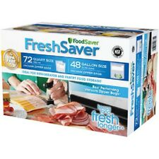 NEW FOODSAVER FRESHSAVER ZIPPER BAG BPA FREE REUSEABLE RESEALABLE QUART GALLON