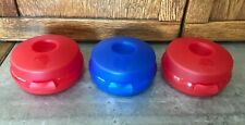 3 Tupperware Round Sandwich Bagel Fruit Keeper Containers 4440 Clamshell Vtg EUC
