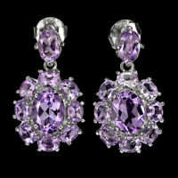 Unheated Oval Amethyst 8x6mm 14K White Gold Plate 925 Sterling Silver Earrings