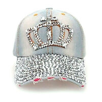 Special Women Denim Jean Rhinestone Sparkle Stud Bling Crown Baseball Cap FN