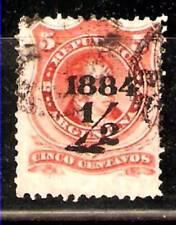 #306 ARGENTINA 1887 RIVADAVIA 5c SURCHAGED 1/2c BLACK VARIETY ERROR Sc 49,GJ 71