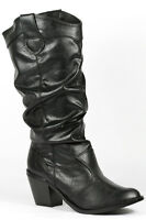 Black Faux Leather Western Cowboy Ruched Ankle Boot Bootie Qupid Trio-01