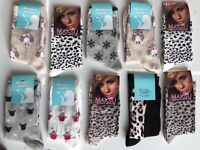 10 pairs ladies women luxury socks coloured design cotton blended size 4-7 GHHNB