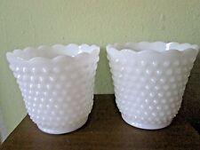 "2 Vtg White Milk Glass Hobnail Fire King #13 Scalloped 4.25"" Vases Planters XLNT"