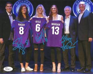 KAYLYN KYLE SARAH HAGEN TOM SERMANNI signed 8x10 Photo Orlando Pride Soccer JSA