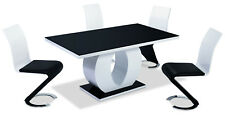 Dining Table Set Black Glass Top White Frame Gloss Four Chairs Leather