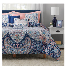 New 10 Piece Medallion King Size Bed in a Bag Comforter Set Sheets 3 Pillows