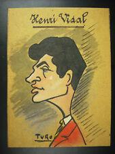 Henri Vidal acteur profil caricature de TURO c 1950 dessin original