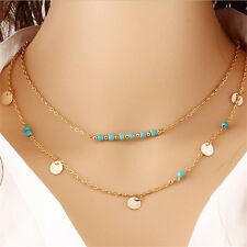 Coin Turquoise Bead Infinity Choker necklace Multi layer Chain delicate gift