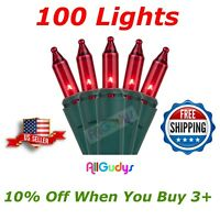 100 RED Christmas Wedding Lights String Indoor Outdoor Green Wire