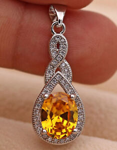 18K White Gold Filled - Mystic Waterdrop Amethyst Ruby Clear Zircon Lady Pendant
