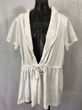 JL Sport Womens Size L White Swim Top Cover Up Hooded Cinch Waist Casual Wear