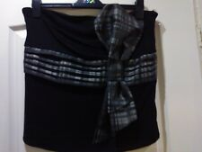 ** BNWT ** NEXT LADIES BLACK/GREY CHECK BOOB TUBE TOP  SIZE 16 WAS £30