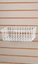 "1/4"" Pegboard 5 Baskets Wire Slatwall 12'' x 8'' x 4"" Display Basket Slat White"