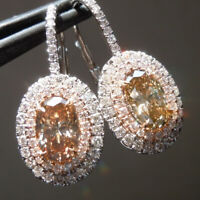 Gorgeous 925 Silver Drop Earrings for Women Citrine Jewelry A Pair/set