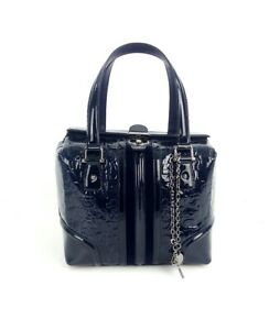 GUCCI Black Blue Patent Horsebit Embossed Boston Treasure Satchel Bag Handbag