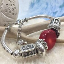 New Vintage Silver Bracelet Red Coral Bead Bracelet Extension Chain