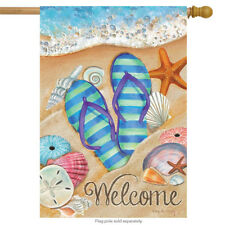 "Day in the Sun Summer House Flag Flip Flops Welcome Shoreline 28"" x 40"""