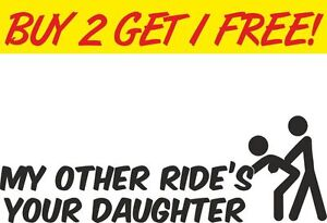 My Other Ride window Car Vinyl Sticker Funny Joke Rude with Stick People